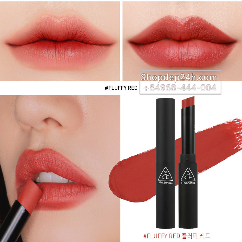 [3CE] Son thỏi 3ce Slim Velvet Lip color #Fluffy Red
